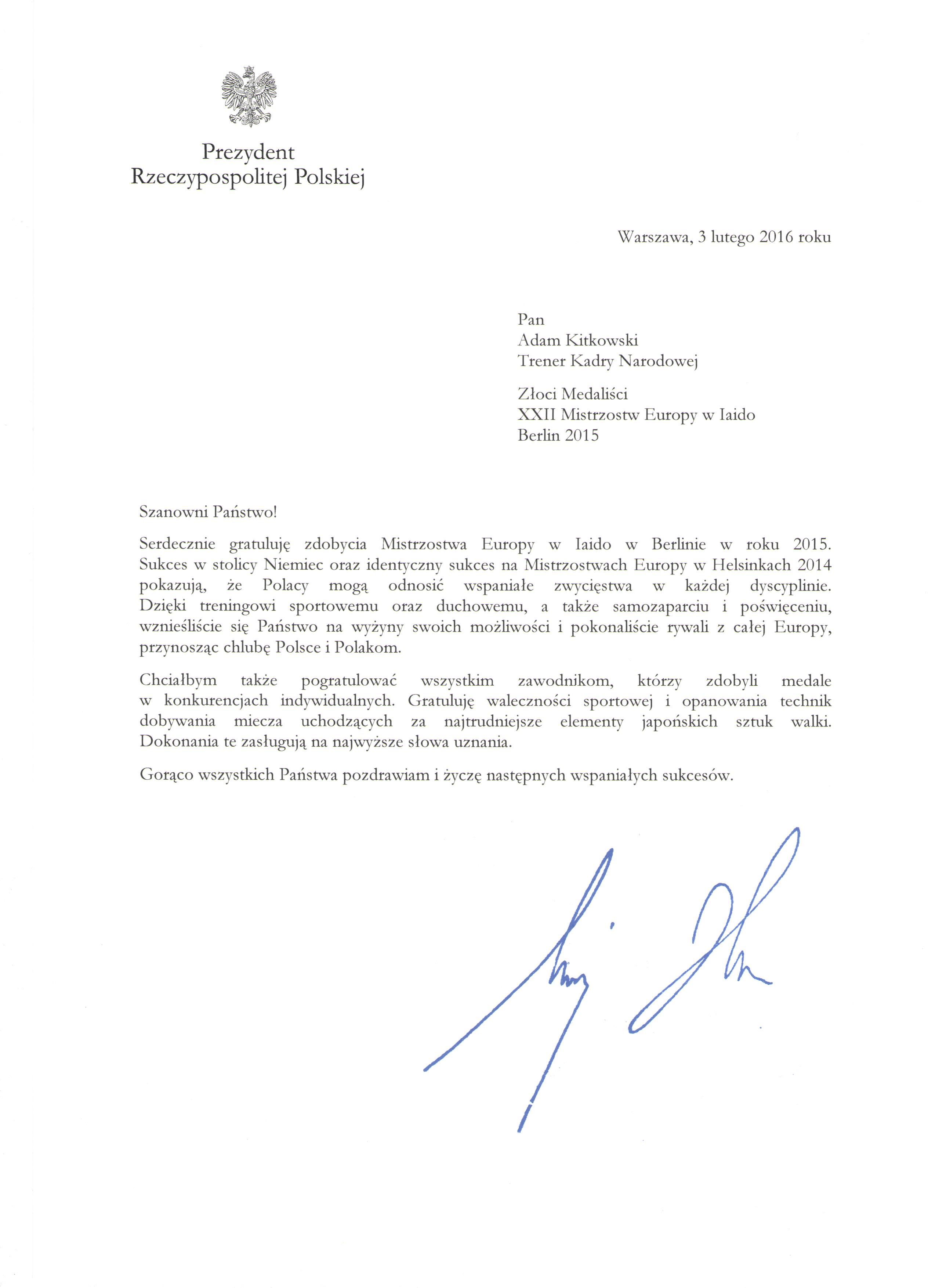 List gratulacyjny 001